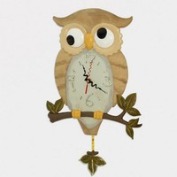 Lyrical Owl-shaped Noctilucent Rocking Wall Clock