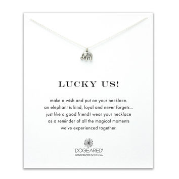Dogeared Lucky Us Elephant Necklace, Sterling Silver 16 inch