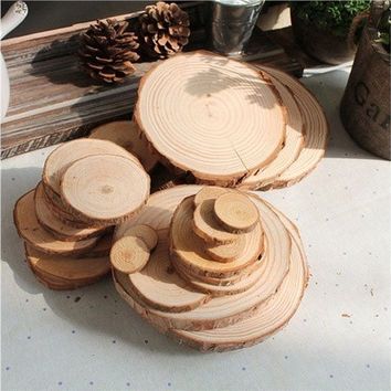 100pcs 3CM Wood Log Slices Discs for DIY Crafts Wedding Centerpieces [7983380103]
