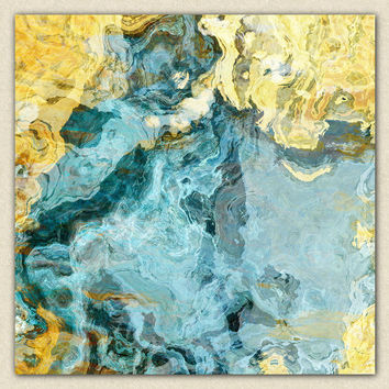 "Contemporary art abstract giclee canvas print with gallery wrap, 24x24 to 36x36 in yellow and aqua, ""Sea and Sand"""