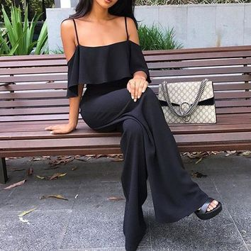 2018 Women's Sexy Sling High Waist Jumpsuit