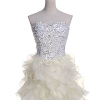Anna-Kaci S/M Fit Tulle Ruffle Sweetheart Neckline Sequin Embellish Dress