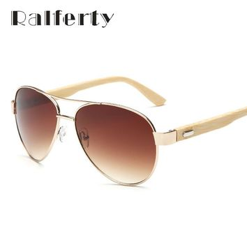 Vintage Pilot Bamboo Sunglasses Polarized UV400 Lens with Gradient