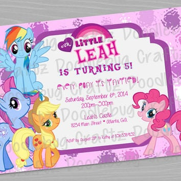 My Little Pony Custom Printable Birthday Party Invitations - Personalized with 24hr turn-around. Purple, Pink, Blue - 5x7 or 4x6 - Pony