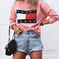 Tommy Jeans Casual Long Sleeve Pullover Sweatshirt Top Sweater