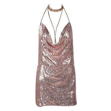 Women Bling Bling Sexy Deep V Backless Dress Bandage Bodycon Halter Sleevelss Party Clubwear Cocktail Pencil Mini Dress