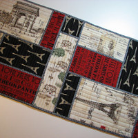Quilted Table Runner--Paris France, Eiffel Tower, Springtime in Paris