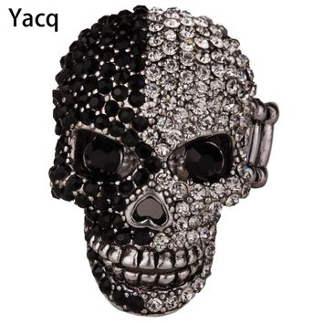 YACQ Skull Stretch Ring Women Girls Scarf Clasp Biker Bling Gothic Jewelry Gifts for Her Wife Mom Gold Silver Color Dropshipping