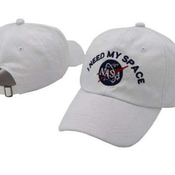 White NASA I Need My Space Embroidered Cotton Baseball Sports Cap Hat