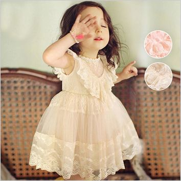 Freeship 2017 Newest Summer Cute Lace Baby Girls Dress Korean Style Trendy And Retro Princess Clothes Kids Children's Costume
