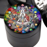 "Ganesh Design - 2.25"" Premium Black Herb Grinder - Custom Designed"