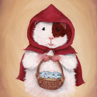 Guinea Pig Little Red Riding Hood - Children's Room Decor Guinea Pig Art Print
