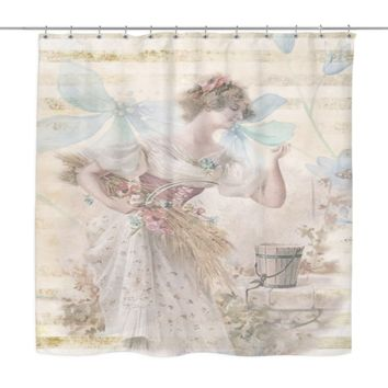 Vintage Victorian Flower Lady Shower Curtain