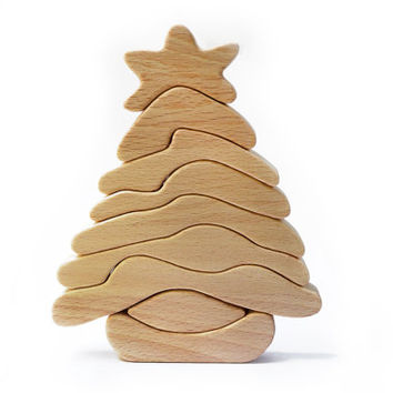 Wooden Christmas Tree Puzzle - Waldorf Inspired Puzzle - Building Blocks - Learning toy