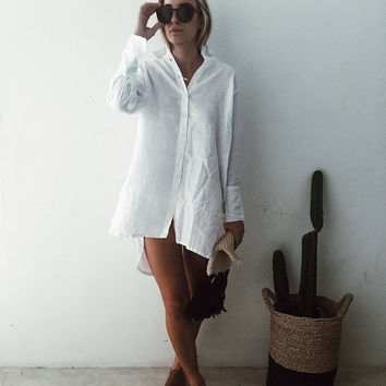 The Harper Dress, Linen Shirt Dress, Shift Dress  - Collared, Button Down, White, Black or Khaki Linen