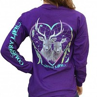 Country Life Feather Deer Dream Heart Long Sleeve T-Shirt