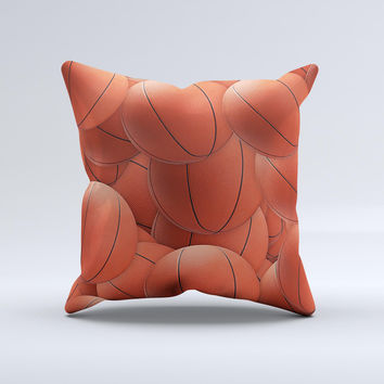 Basketball Overlay Ink-Fuzed Decorative Throw Pillow