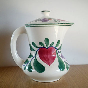 German hand painted Coffee Pot, German Persian Ceramic Pitcher