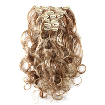 7pcs Suit Clips in Hair Extension Curled Wig Piece    27H613
