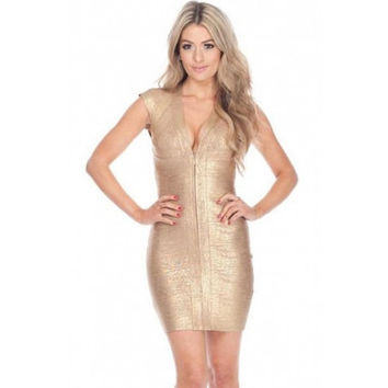 V Neck Gold Bandage Dress LAVELIQ SALE