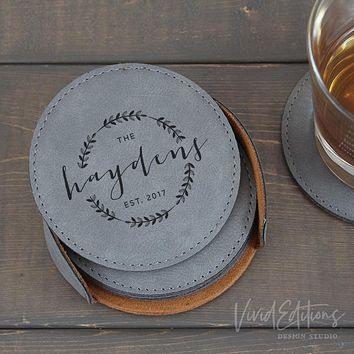 Personalized Round Leather Coaster Set of 6 - Gray CB03
