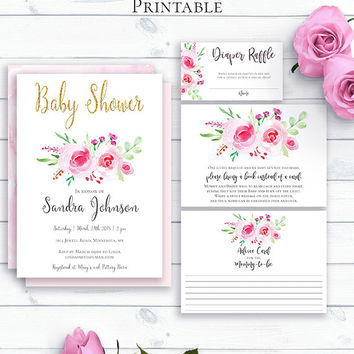 Customized Baby Shower Set, Baby Shower Invitation, Printable Baby Invitation Template, Watercolor Floral Shower Invite, Baby Shower Advice