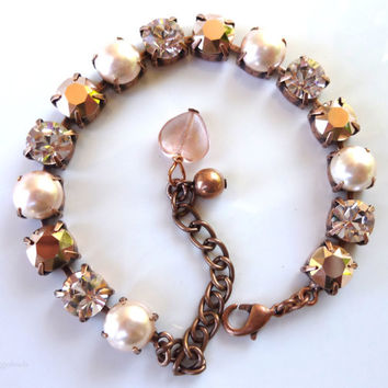 swarovski crystal bracelet- rose gold and pearl- better than sabika