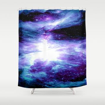 Orion Nebula Purple Teal Blue Shower Curtain by GalaxyDreams