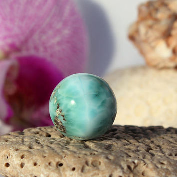 Large 16mm Larimar Round Bead Polished ball Turquoise Blue Green Pectolite Boho Rough big ball drilled Dominican beach stone
