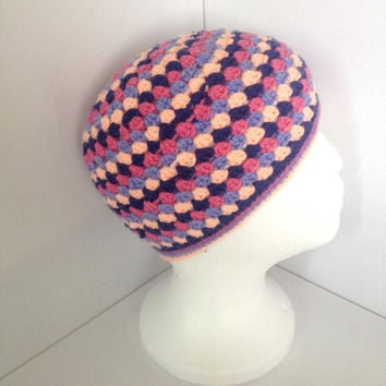 Girls Crochet Beanie, Age 4 -8, Granny Square Style, Pink and Blue Stripy Hat, Retro Style Skullcap, Multi-coloured Teen Hat,