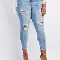 Plus Size Refuge Step Hem Destroyed Boyfriend Jeans