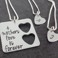 Personalized Mother Daughter Jewelry - Sterling Silver Square with 2 Hearts Necklace Set
