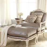 "Old Hickory Tannery - ""Silver"" Leather Chair & Ottoman - Horchow"