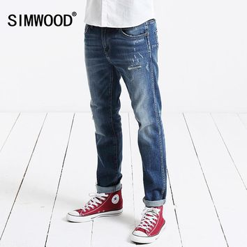 2017 autumn winter New Arrival SIMWOOD Brand Men Jeans Slim Fit Casual Zipper Fly Denim Pants Plus Size Free Shipping SJ6030