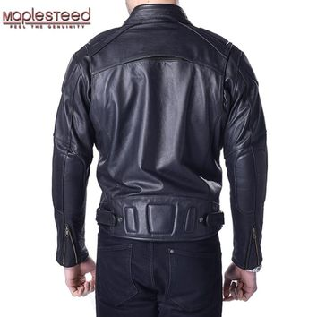 MAPLESTEED Motorcycle Jacket Men 100% Genuine Cowhide Skin Leather Black Thick Bomber Moto Biker Motor Clothing Winter Coat 153
