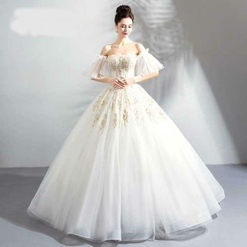 Luxury Pearls Off Shoulder Backless Lace Up Beading Brides Wedding Dresses