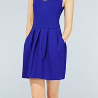 Plain Sleeveless Zipper Back Pleated Dress With Pockets