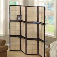 Folding Screen - 4 Panel / Cappuccino / 2 Display Shelves