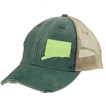 Connecticut  Hat - Distressed Snapback Trucker Hat - off-center state pride hat - Pick your colors