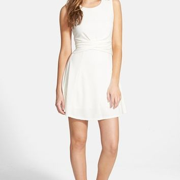 Junior Women's Love, Nickie Lew Cross Front Skater Dress,