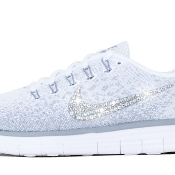Women's Nike Free RN Distance - Hand Customized with Swarovski Crystallized Swoosh - Gray/White