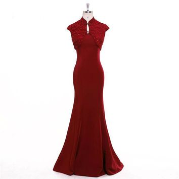 Red Trumpet Two Pieces Mermaid High Collar Evening Dresses Floor Length Party Gown Evening Gowns Prom Dress