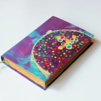 colorful dots, journal, diary, notebook, old, dyed paper, batik fabric, blank book, antique book, travel journal