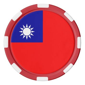 Poker chips with Flag of Taiwan