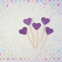 100 pcs - Set of 100 pcs - Glitter Cupcake Toppers. Heart Cupcake Topper - Topper - 100% Handmade. Ready to Ship.