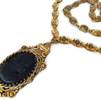 "Victorian Cameo Pendant Necklace Black Lava Glass Gold Flower Chain High End 24"" Vintage"