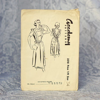RARE Academy Vintage Apron Sewing Pattern 3218, Size 34 Medium 1950s Pinafore Dress or Full Length Apron with Ruffles