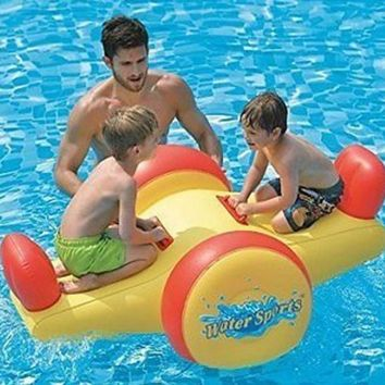 "57"" Yellow and Red Children's Inflatable Water Sports Swimming Pool Seesaw Float"