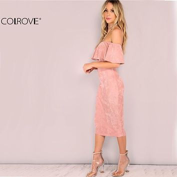 COLROVIE Women Party dresses Elegant Evening Sexy Club Dresses Backless Midi Pink Faux Suede Off The Shoulder Ruffle Dress