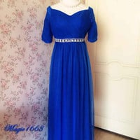 Royal Blue Wedding Dress, Off Shoulder Bridesmaid Dress with sleeves, Tutu High Waist Maternity Gown, Royal Blue Wedding Party, Custom Size